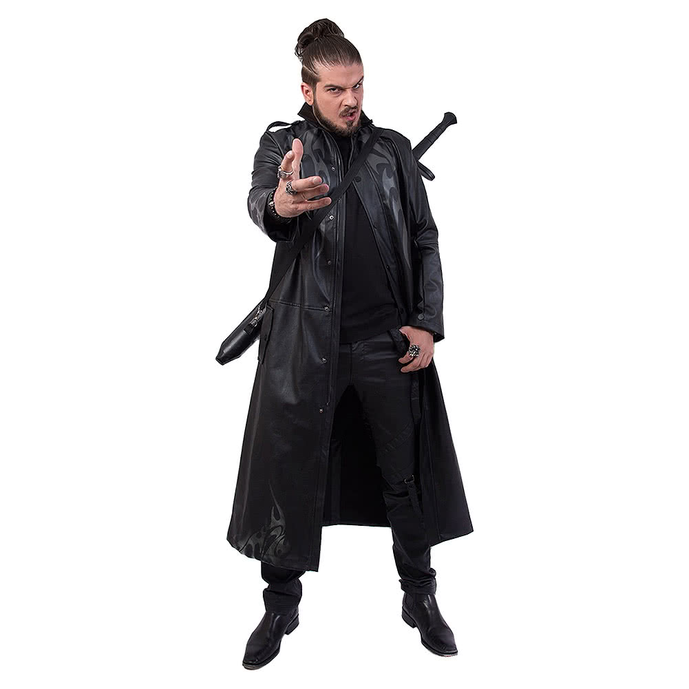 Spiral Direct Just Tribal Trench Coat (Black)