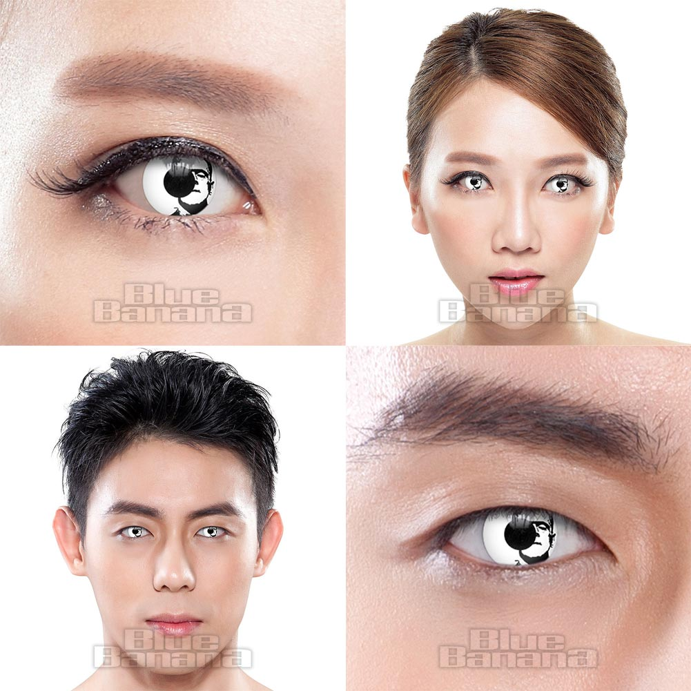 Frankenstein Face 90 Day Coloured Contact Lenses (White)