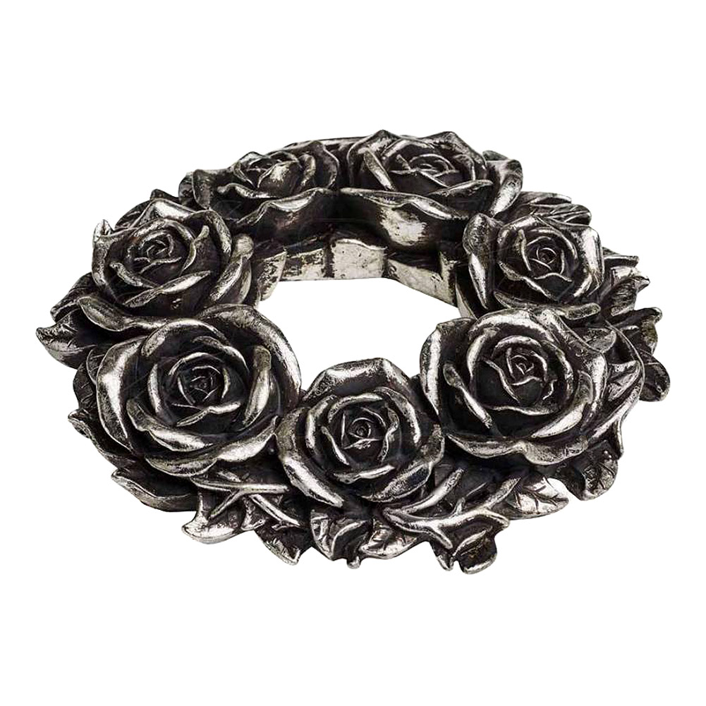Alchemy Gothic Black Rose Wreath (Silver)