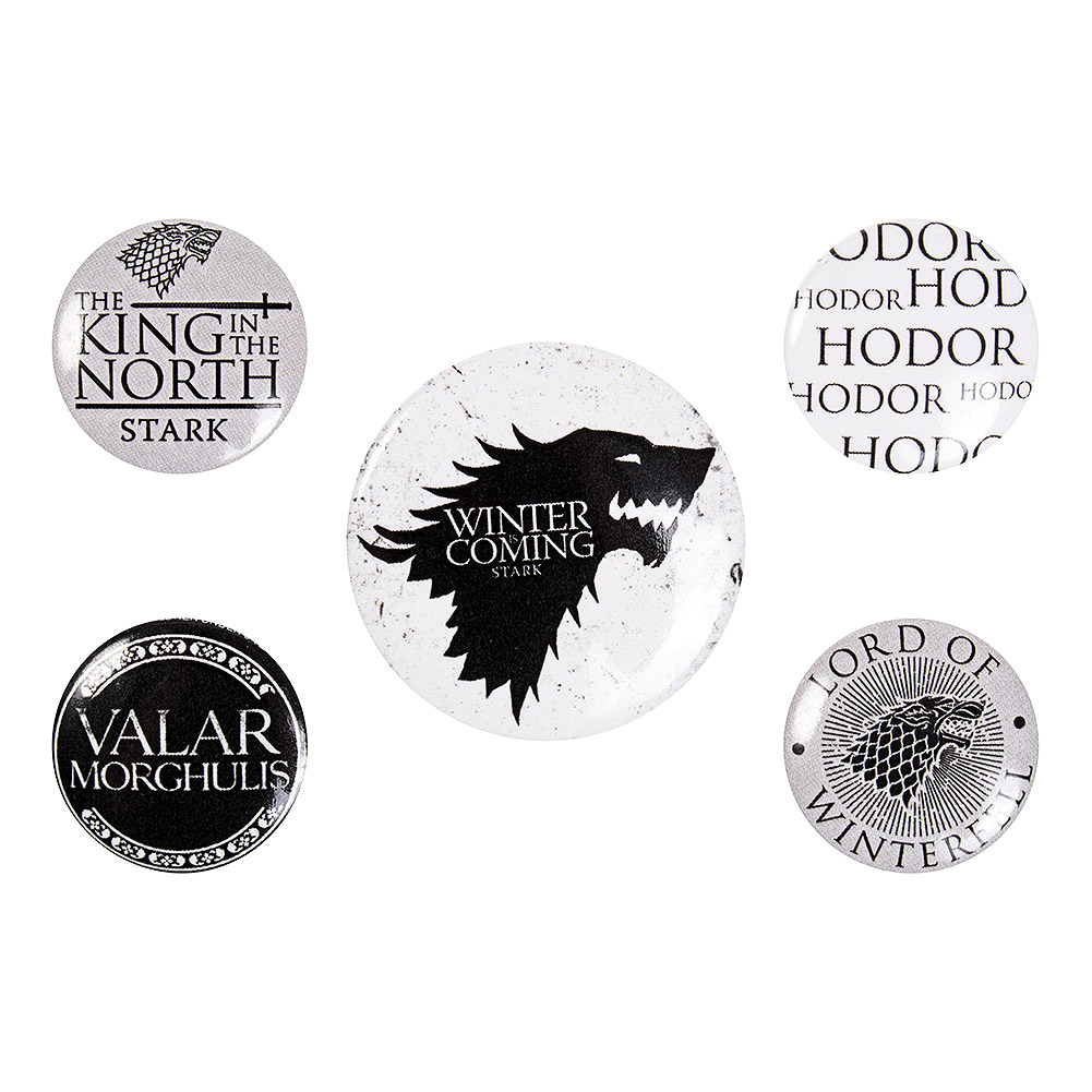 Game Of Thrones Winter Is Coming Badge Set (Pack Of 5)