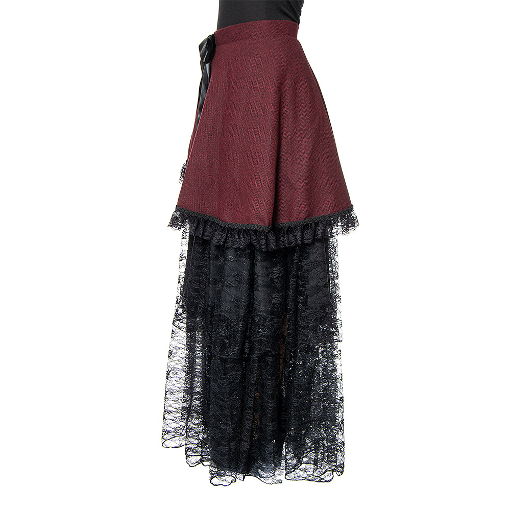 Golden Steampunk Herringbone Skirt (Red/Black)