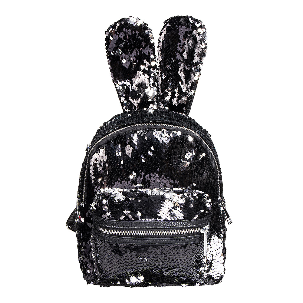 Blue Banana Two Way Sequin Ears Backpack (Black/Silver)