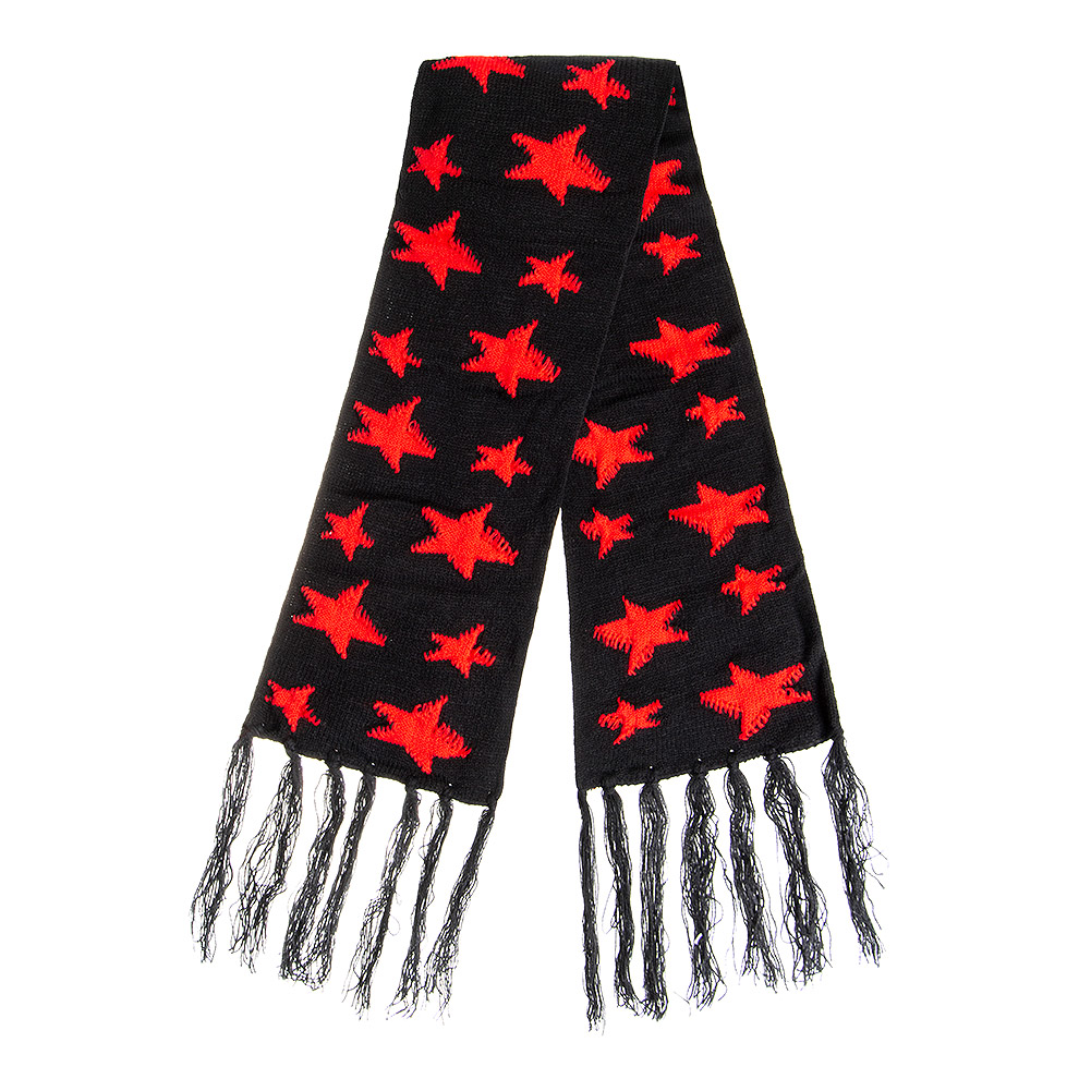 Blue Banana Stars Hat & Scarf (Black/Red)