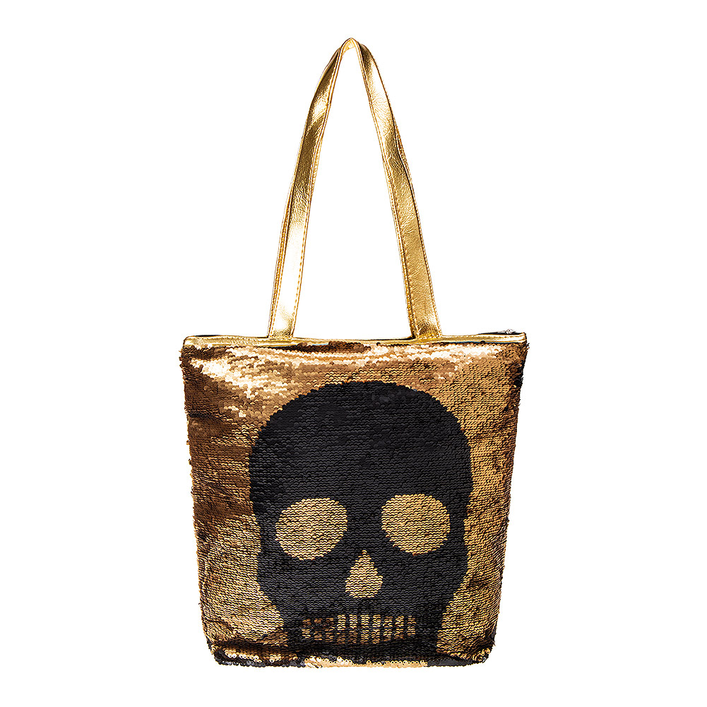 Blue Banana Two Way Sequin Skull Bag (Gold/Black)