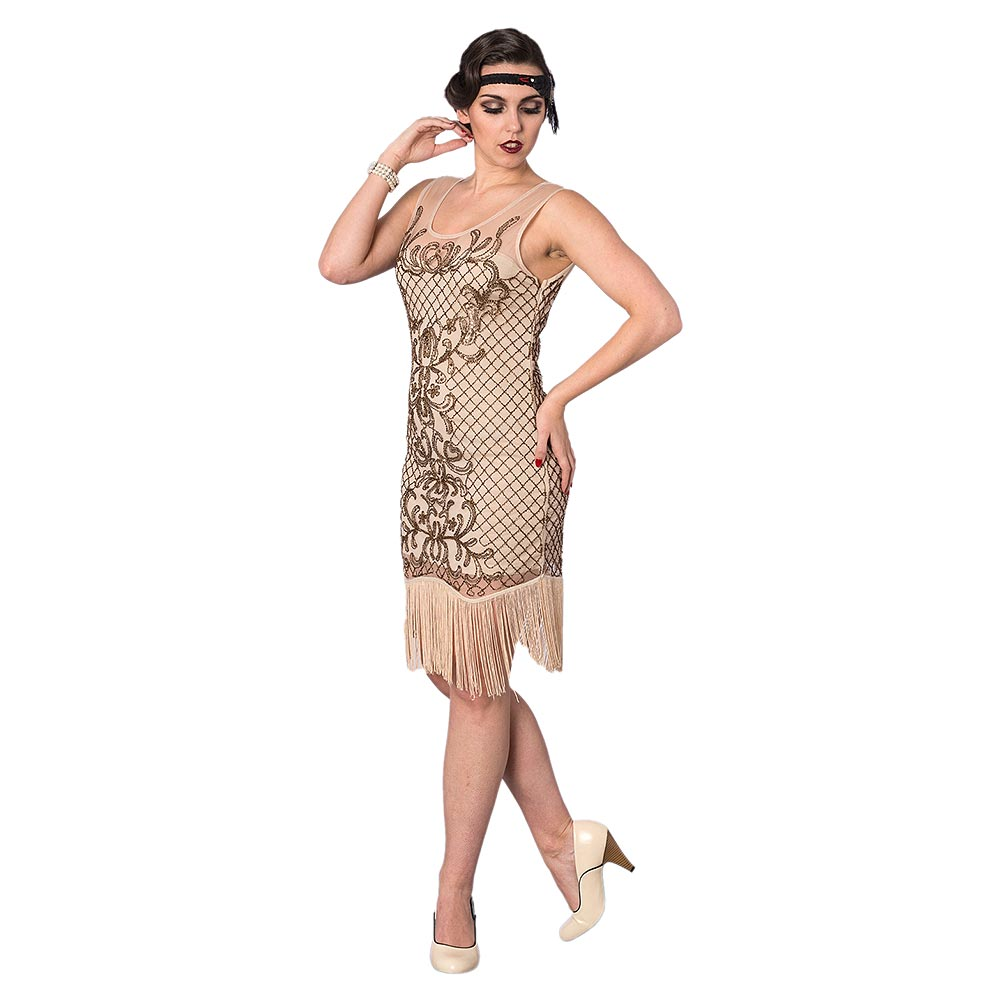 Gatsby Dresses: Banned Great Gatsby Dress, 1920s Womens Nude Flapper Dresses