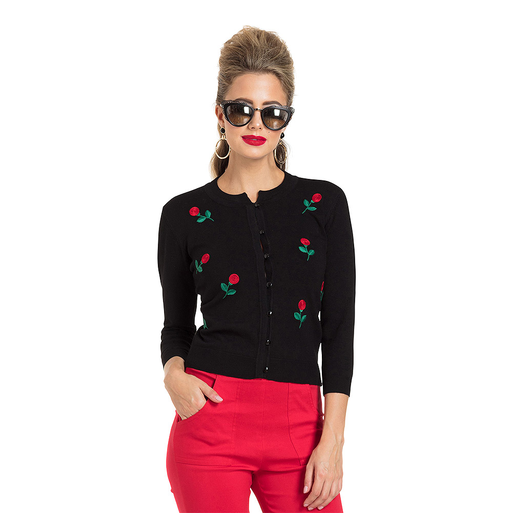 Voodoo Vixen Rose Cardigan (Black)
