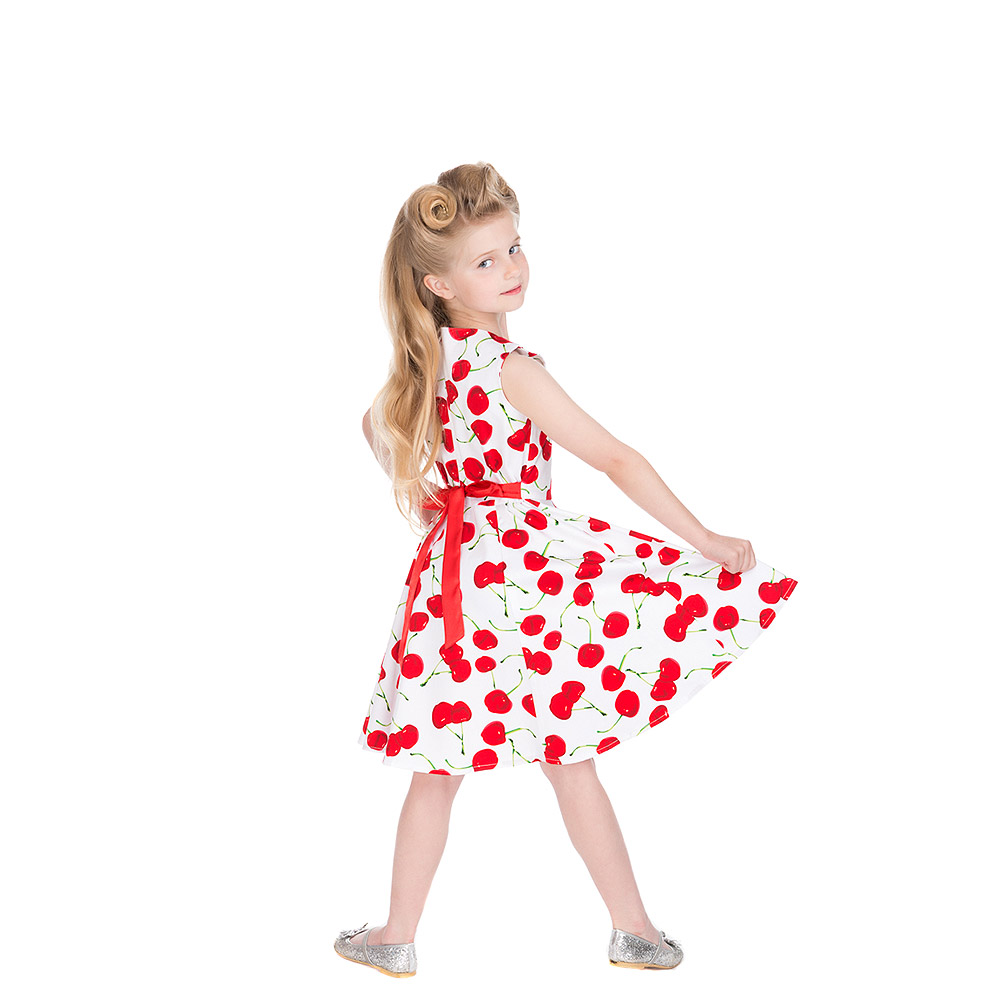 H & R Bombshell Cherry Kids Swing Dress (White)