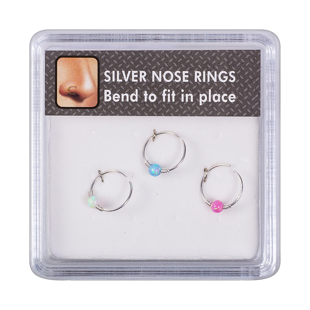 Blue Banana Bendy Nose Rings (Pack Of 3)