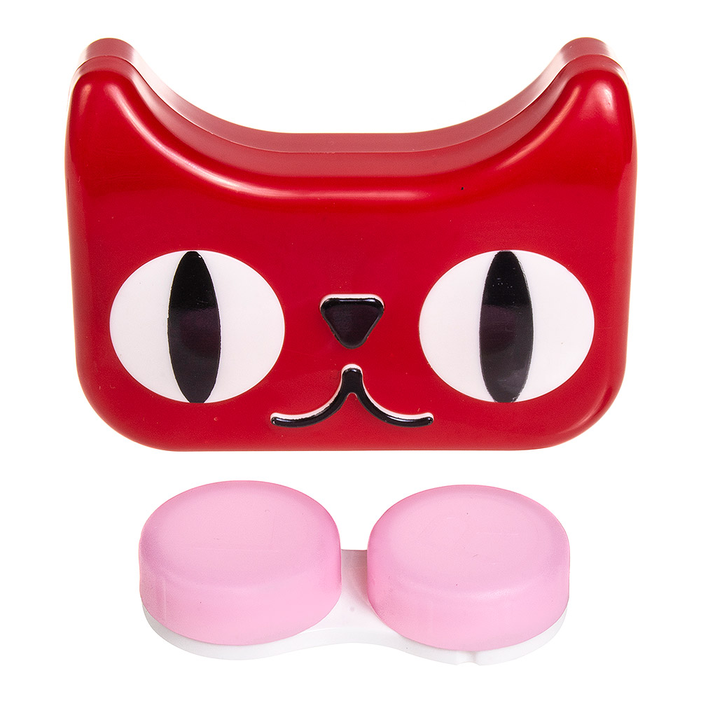 Coloured Contacts Cat Contact Lens Case & Kit (Red)
