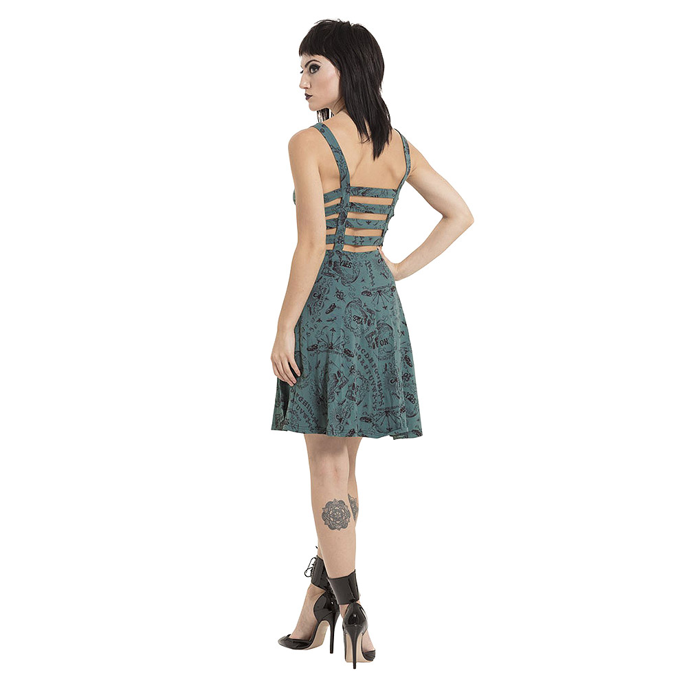 Jawbreaker Ouija Print Skater Dress (Blue)