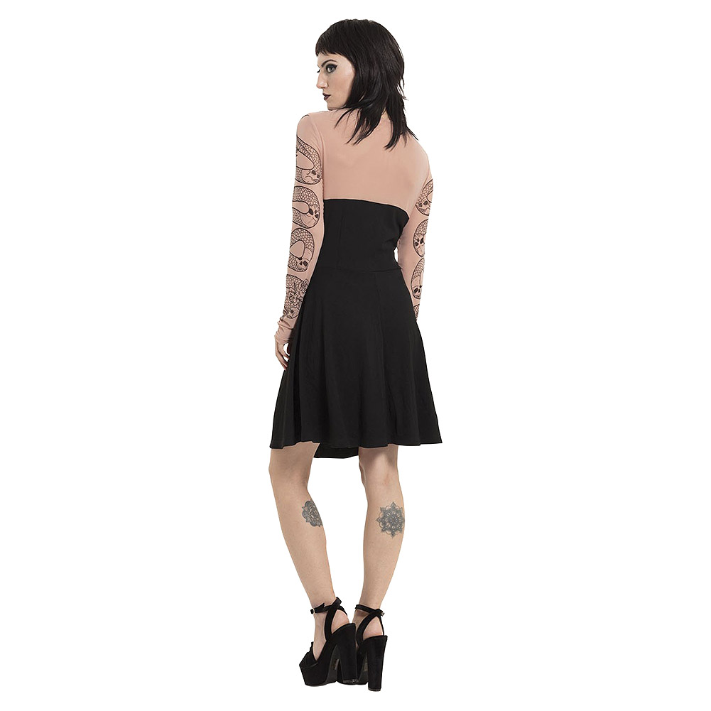 Jawbreaker Serpent Tattoo Skater Dress (Black/Pink)