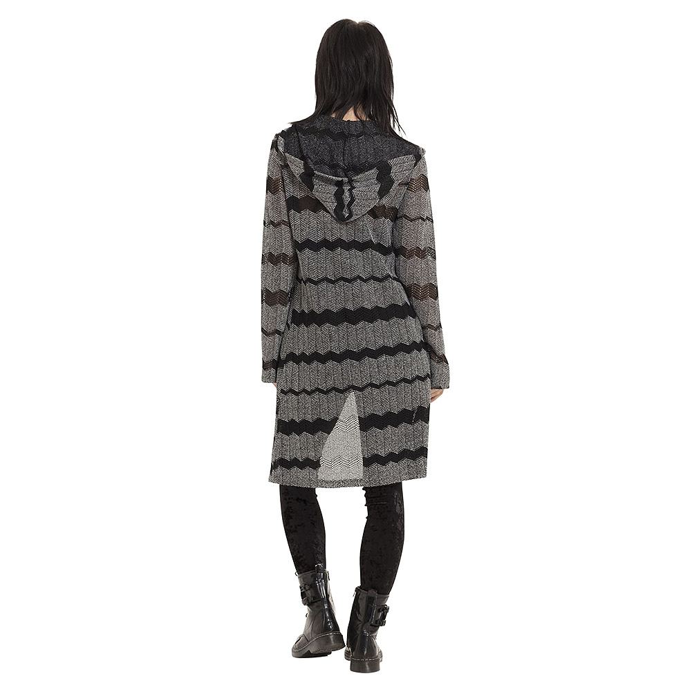 Jawbreaker Metamorphic Striped Hooded Cardigan (Black)