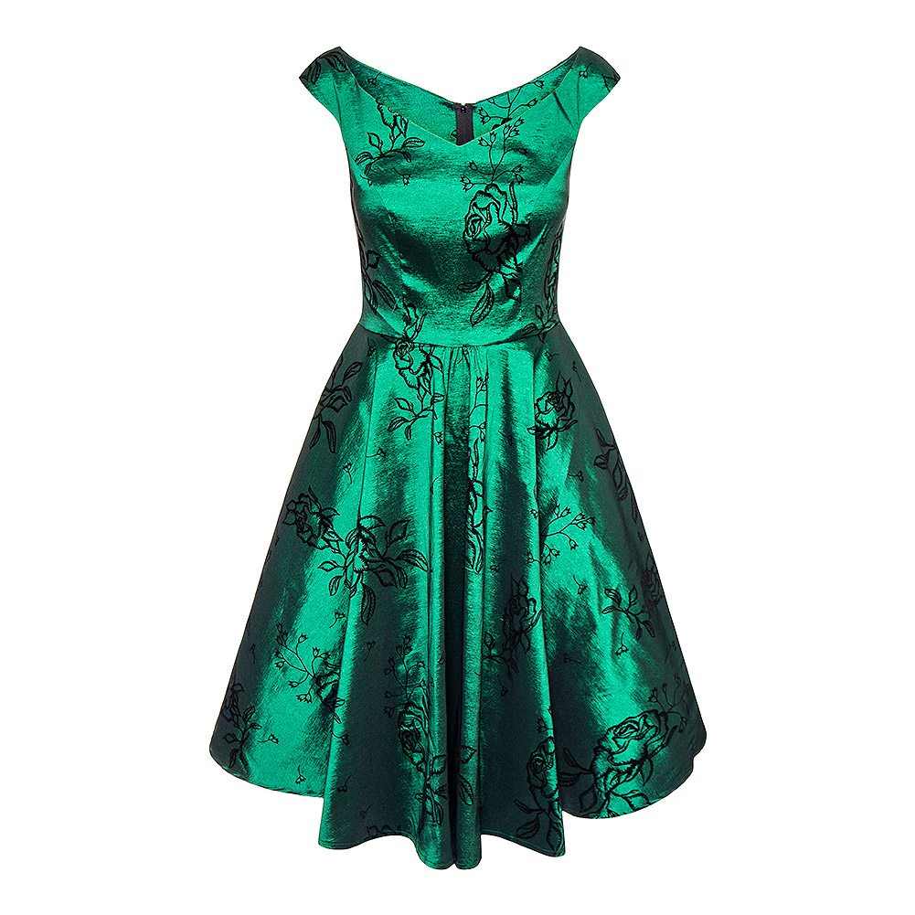 Voodoo Vixen Lily Taffeta Flared Dress (Green)