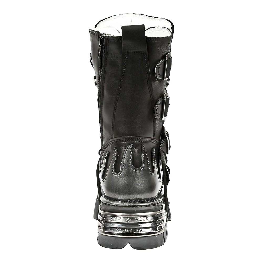New Rock M.107-S2 Reactor Demon Flame Calf Boots (Black)