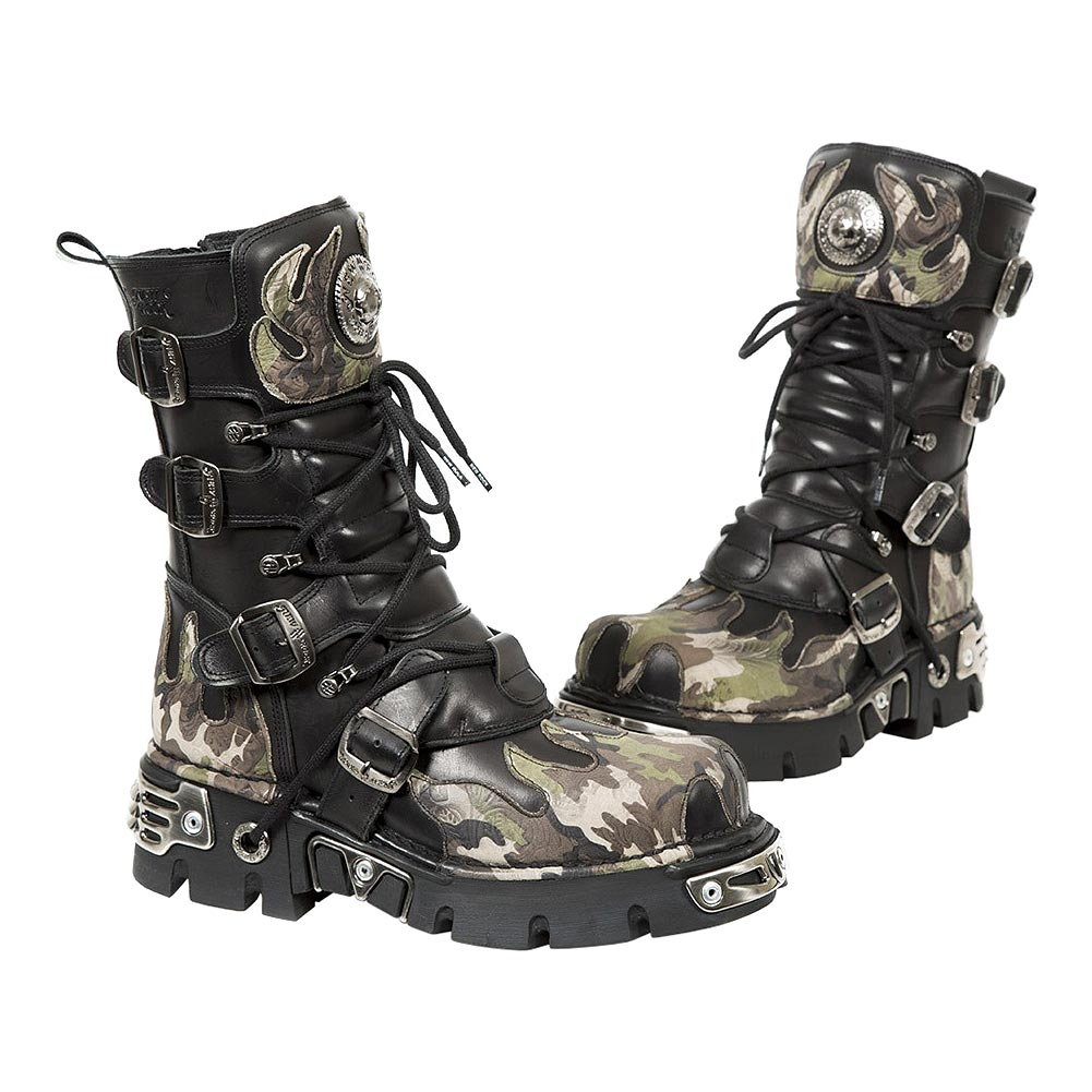 New Rock M.591-S15 Reactor Camo Flame Half Boots (Black/Green)