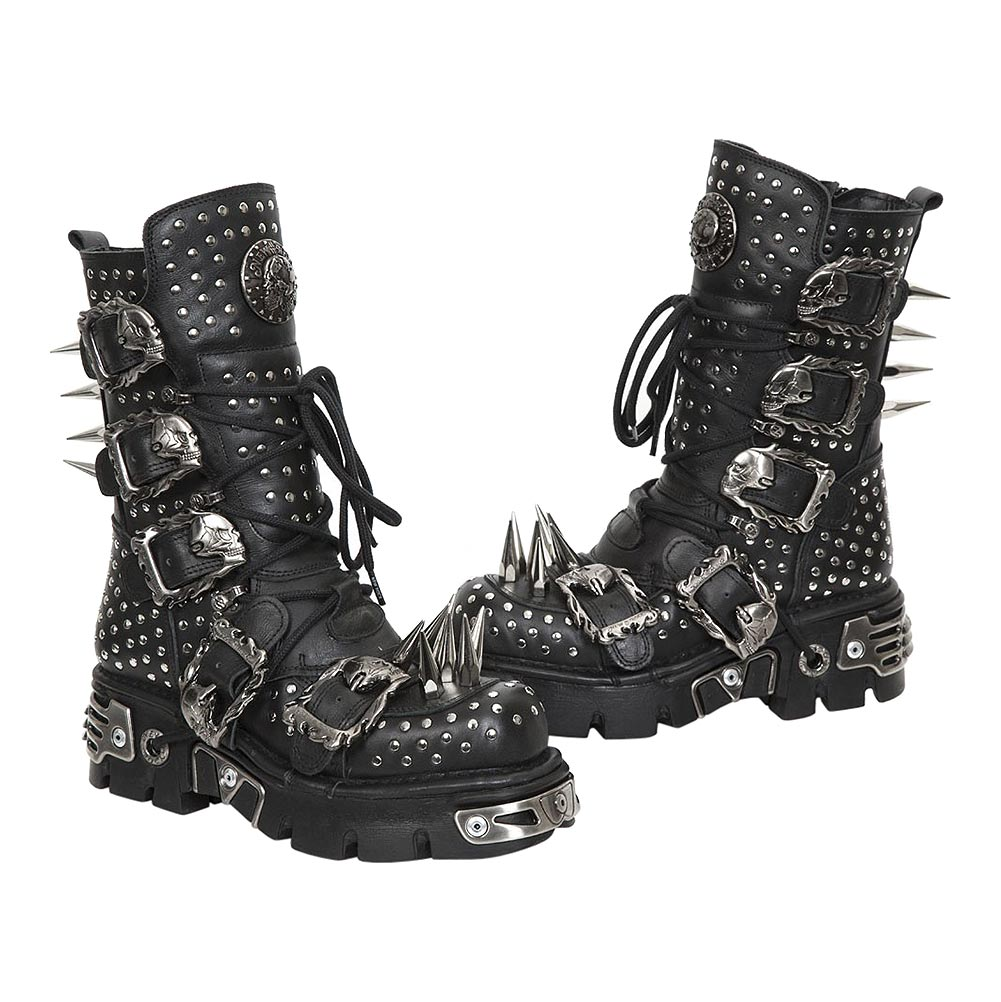New Rock M.1535-S1 Reactor Spikes Half Boots (Black)
