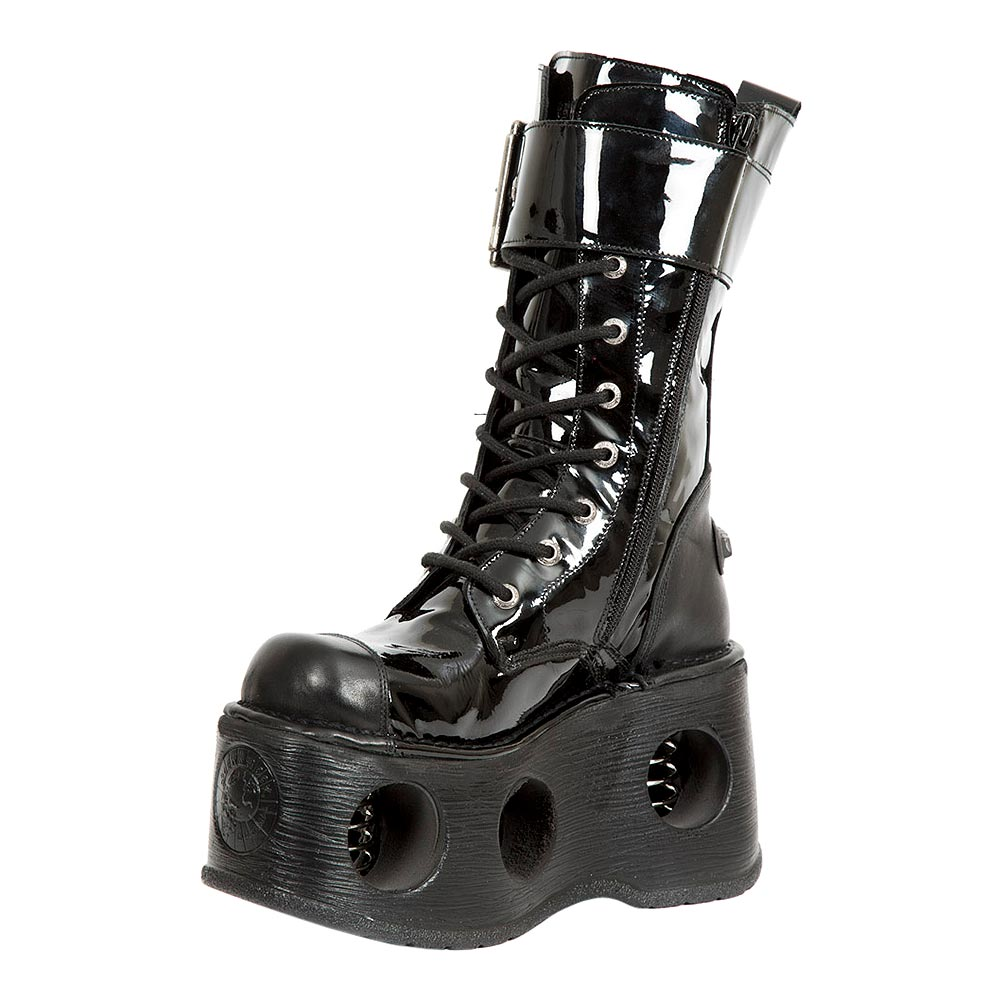 New Rock M.312-S5 Platforma Patent Leather Space Platform Boots (Black)
