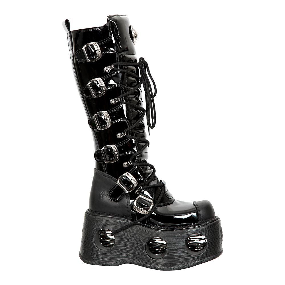 New Rock M.314-S5 Space Patent Leather Metallic Platform Boots (Black)
