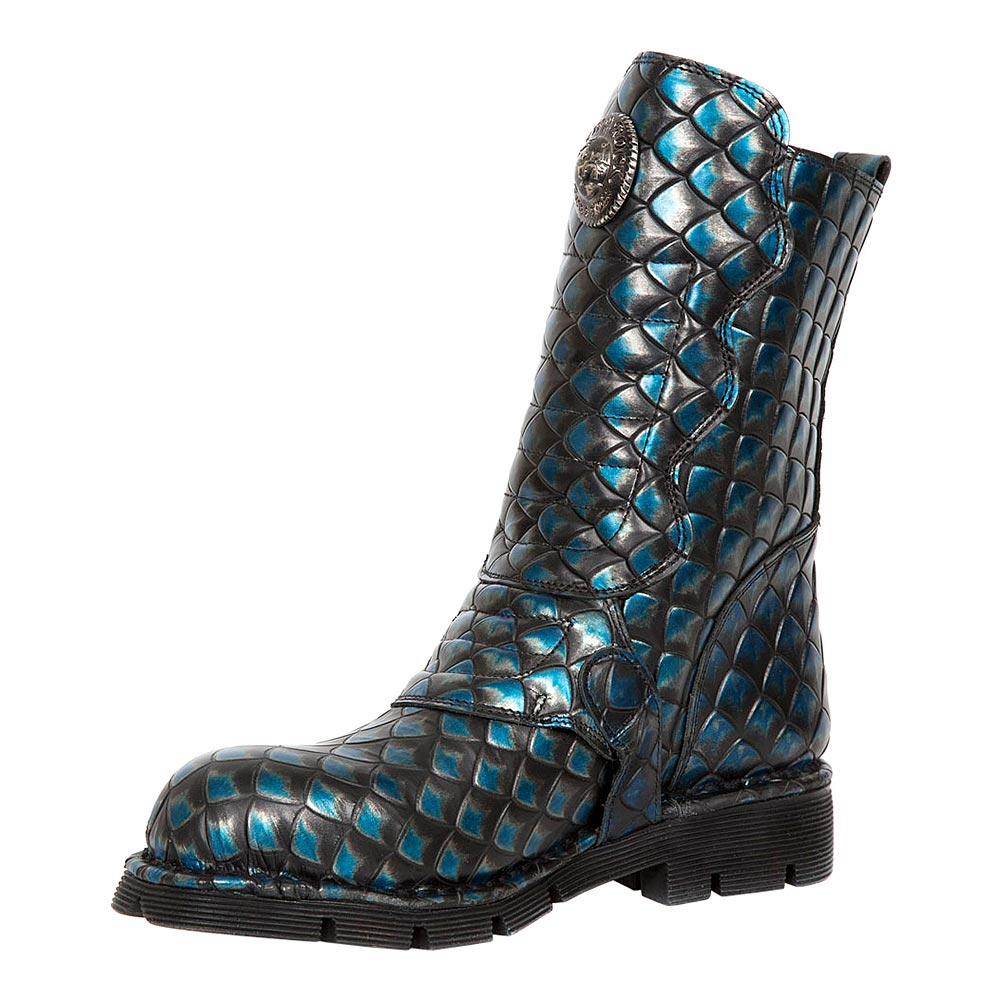New Rock M.373X-S33 Comfort-Light Dragon Half Boots (Blue)