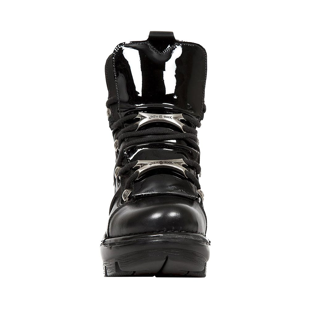 New Rock M.NEOTYRE01-S1 Neotyre Patent Leather Ankle Boots (Black)
