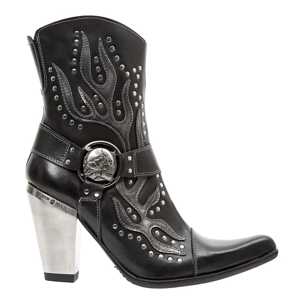 New Rock M.7919-S1 Bull Flame Heeled Boots (Black)
