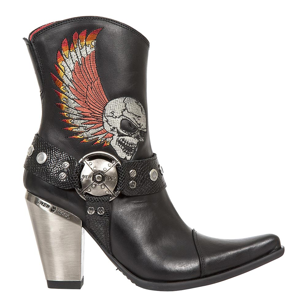 New Rock M.BULL006-S1 Bull Embroidered Skull Heeled Boots (Black)