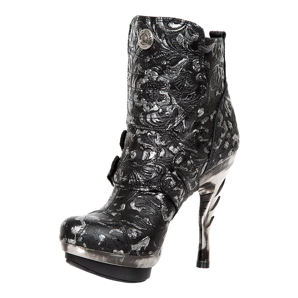 New Rock M.PUNK098X-S11 Punk Flowers Heeled Boots (Black/Silver)