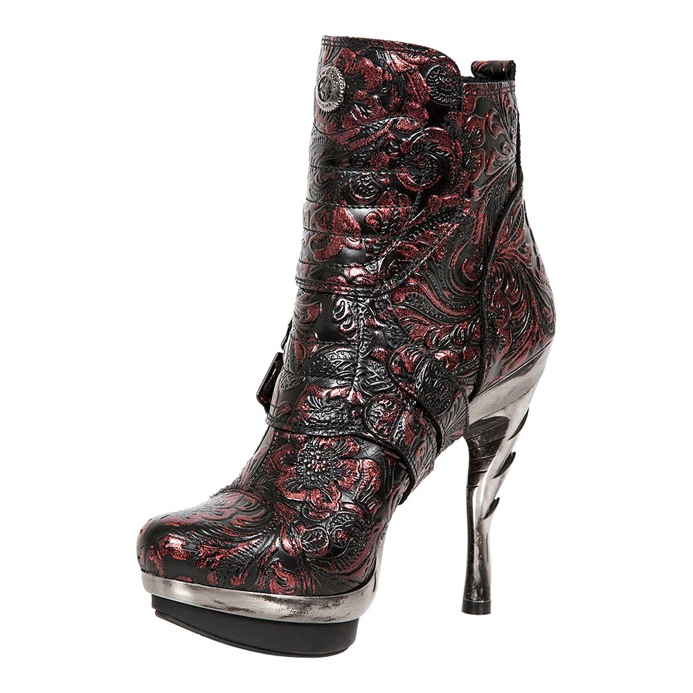 New Rock M.PUNK098X-S13 Punk Flowers Ankle Boots (Black/Red)