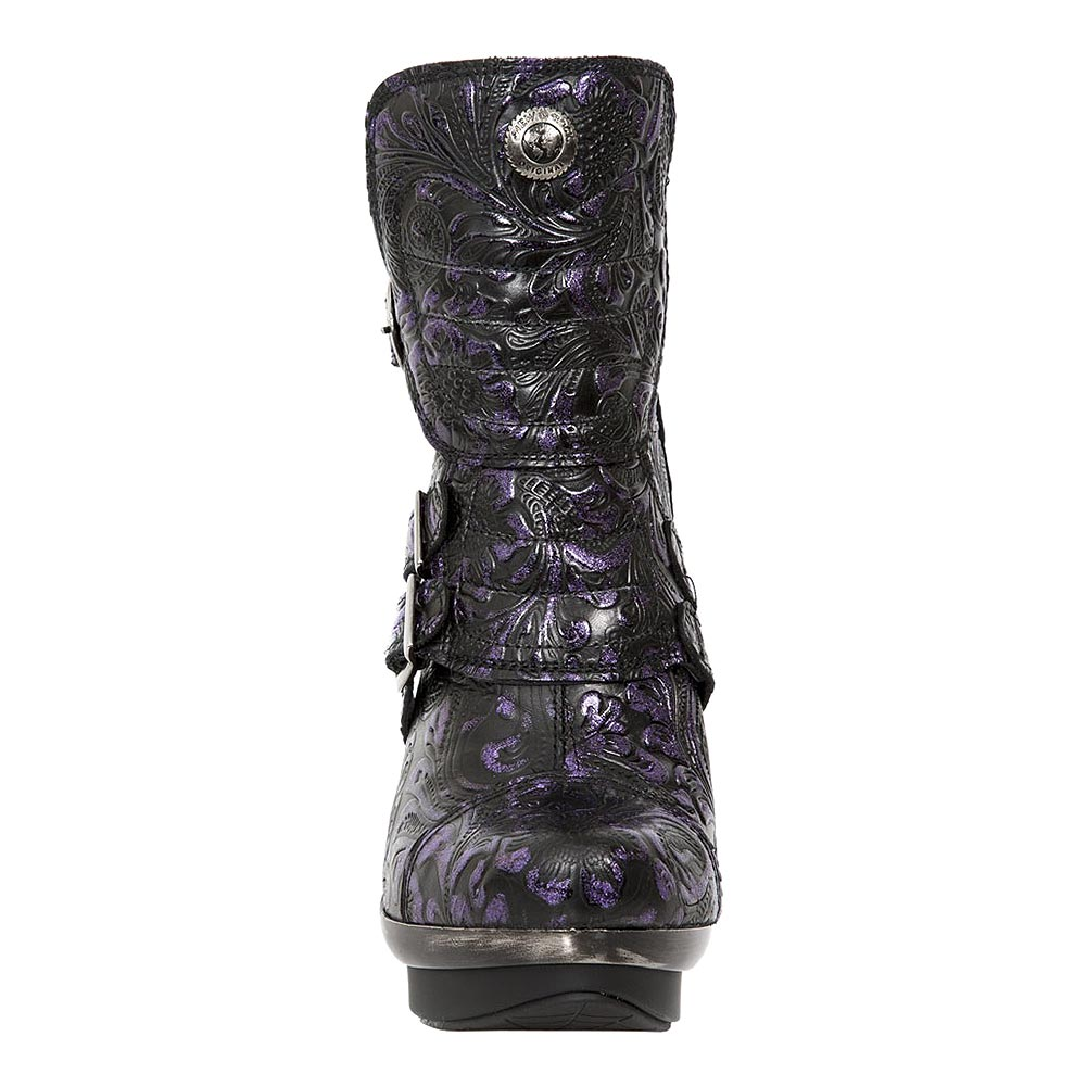 New Rock M.PUNK098X-S14 Punk Flowers Ankle Boots (Black/Purple)