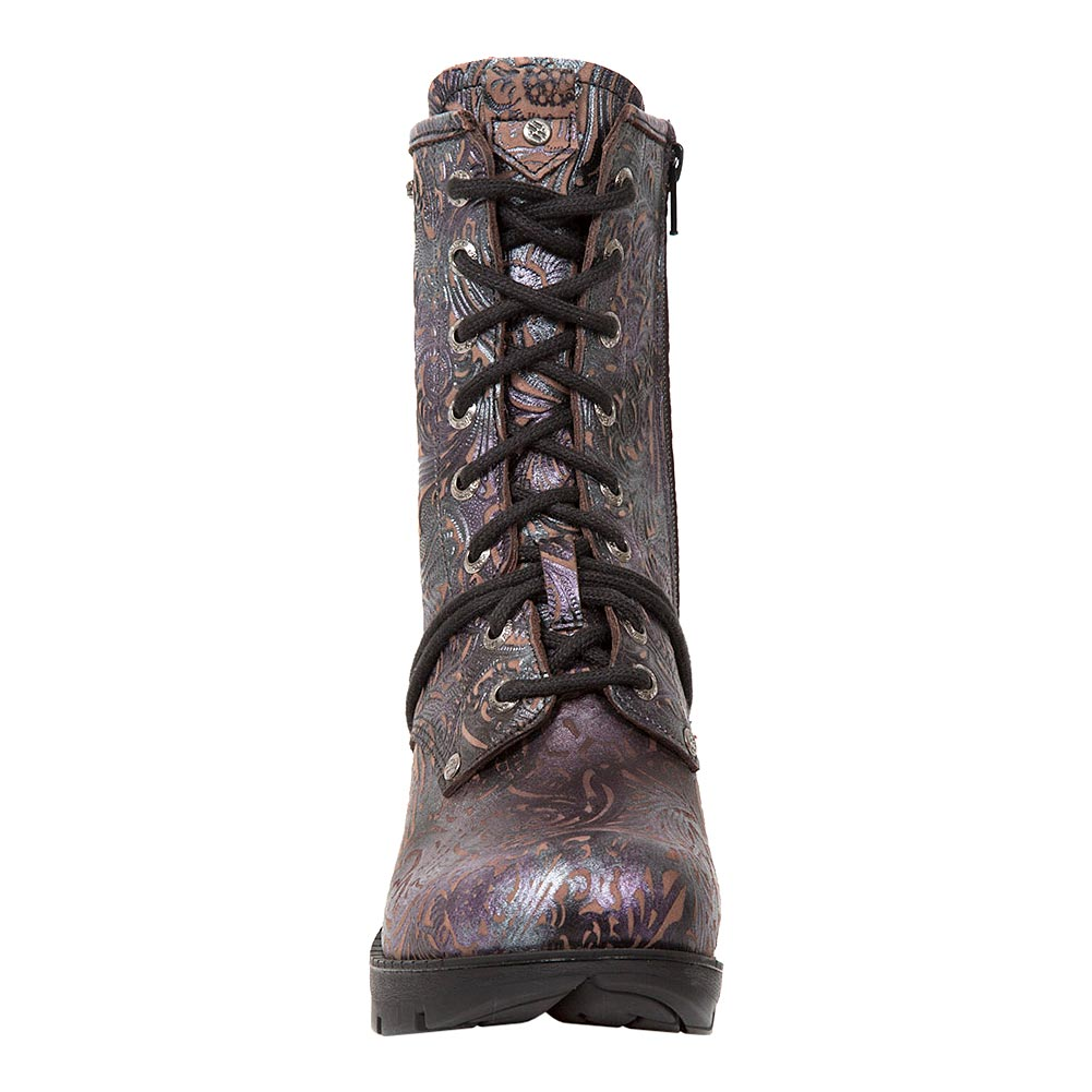 New Rock M.TR001-S4 Trail Flowers Heeled Boots (Purple)