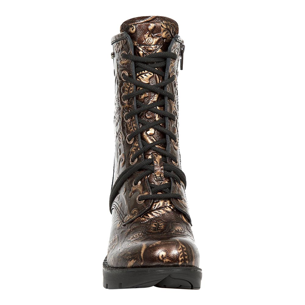 New Rock M.TR001-S5 Trail Flowers Heeled Boots (Brown)