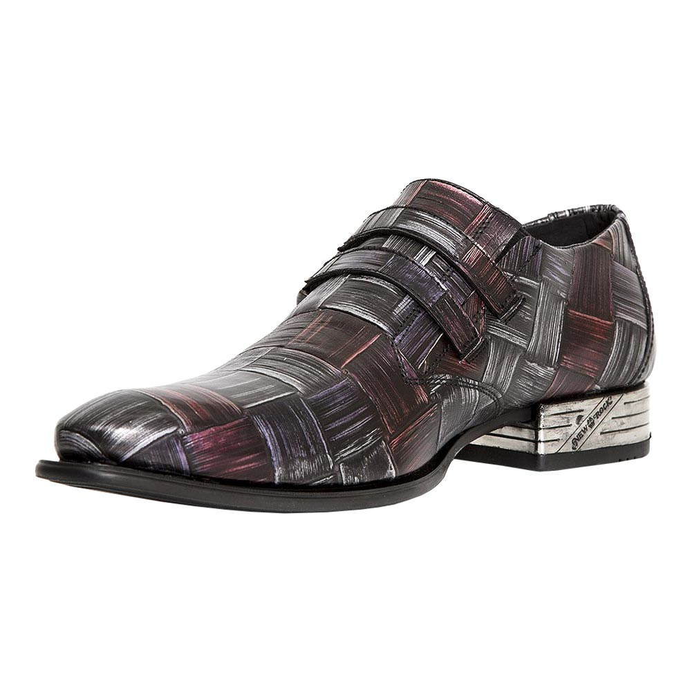New Rock M.2288-S14 VIP Steel & Red Bamboo Shoes (Grey/Red)