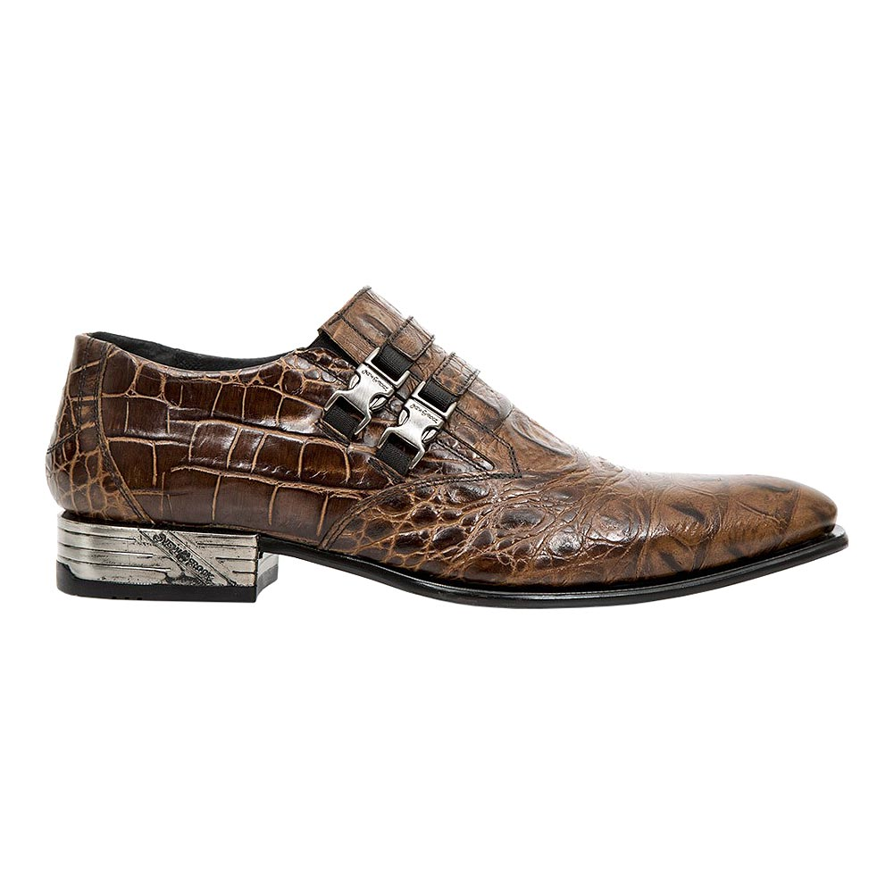 New Rock M.2288-S18 VIP Crocodile Shoes (Brown)