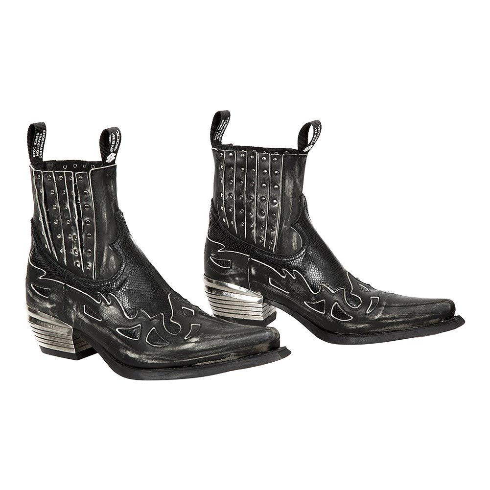 New Rock M.WST047-S2 Dallas Distressed Snake Cowboy Boots (Black)