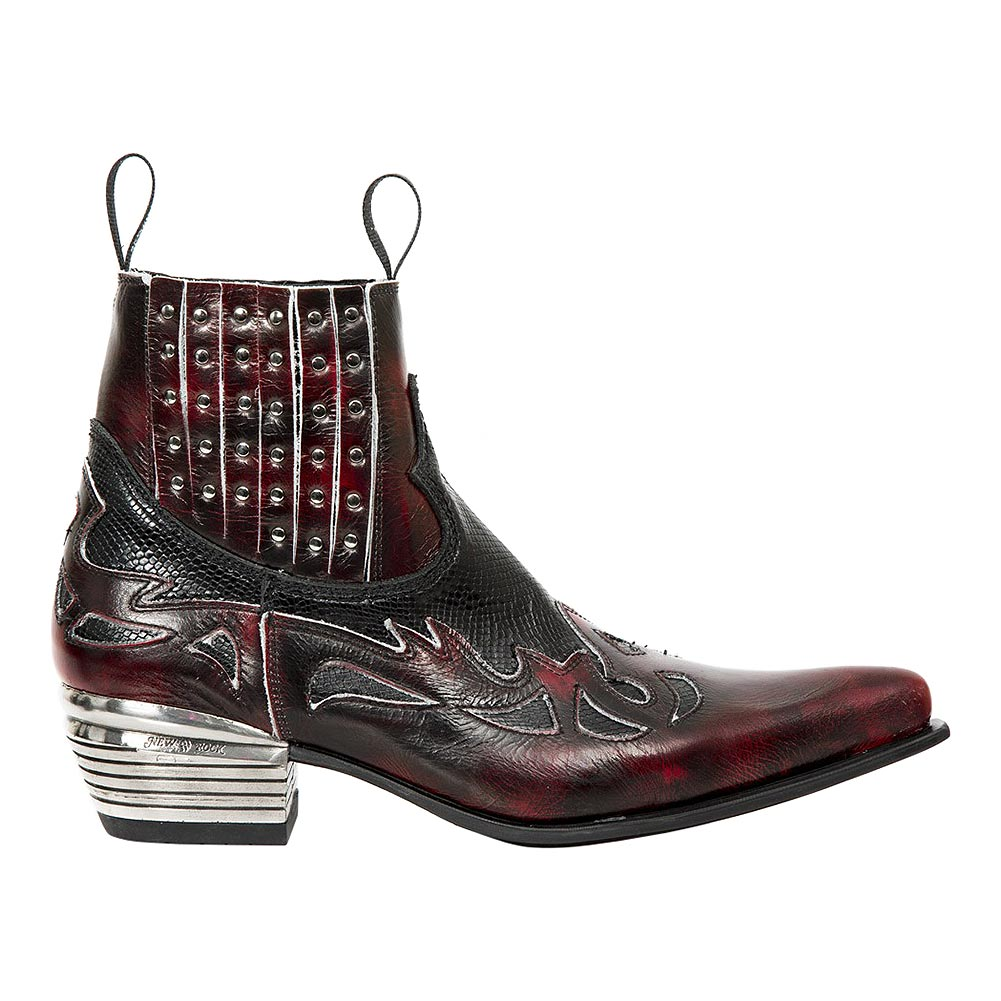 New Rock M.WST047H-S1 Dallas Snake Cowboy Boots (Red/Black)