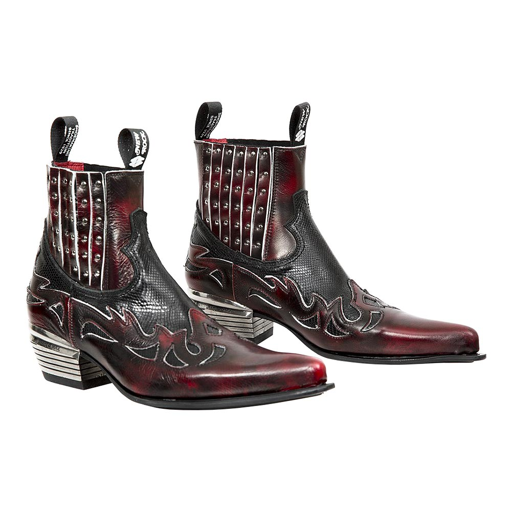 20a55a70ffc New Rock M.WST047H-S1 Dallas Snake Cowboy Boots (Red/Black)