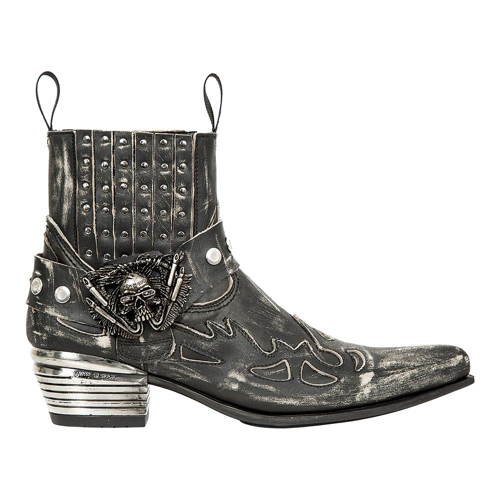 New Rock M.WST045 S1 Dallas Distressed Cowboy Boots (BlackBrown)