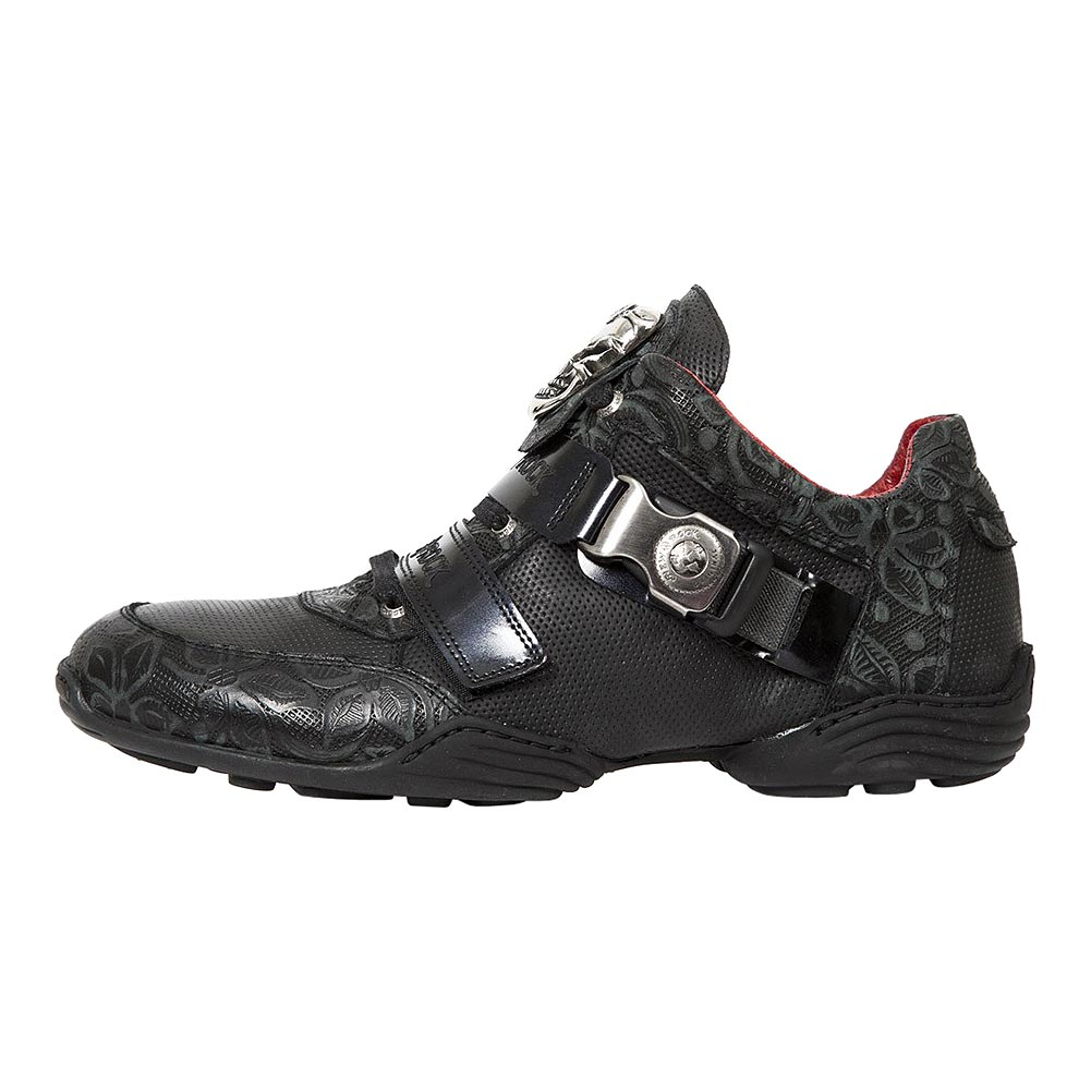 New Rock M.HY036-S6 ABS Floral Skull Shoes (Black)