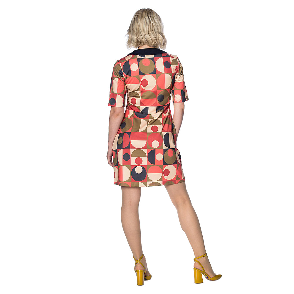 Banned Large Scale Geo Dress (Pink)