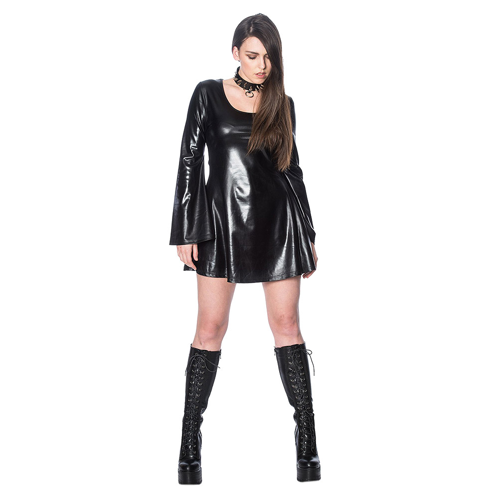 4415fe0cf8 Details about Banned Apparel Minimal Goth Womens Ladies Gothic Black  Leather Look Skater Dress
