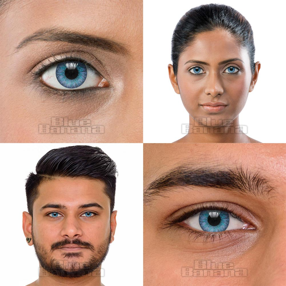 3 Tone 90 Day Coloured Prescription Contact Lenses (Blue Emerald)