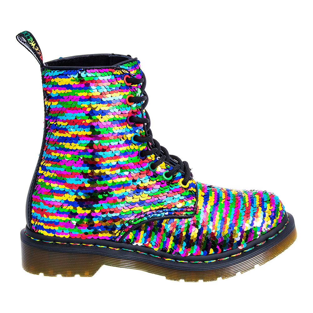 Dr Martens 1460 Pascal Reversible Sequin Rainbow Boots (Multicoloured)