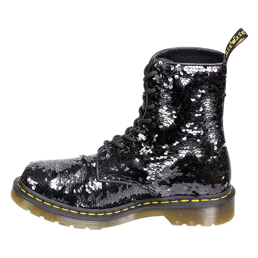 Dr Martens 1460 Pascal Reversible Sequin Boots (Black/Silver)