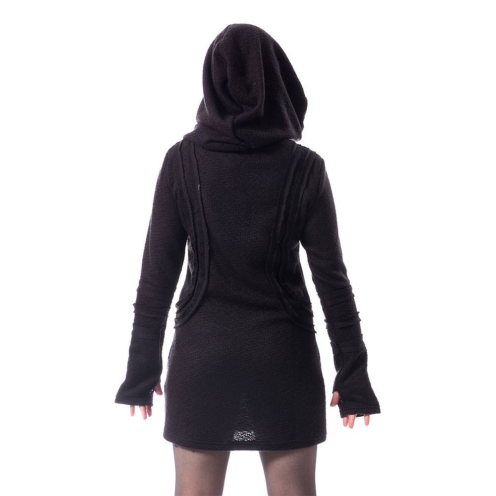 Vixxsin Adalena Gothic Hooded Dress (Black)