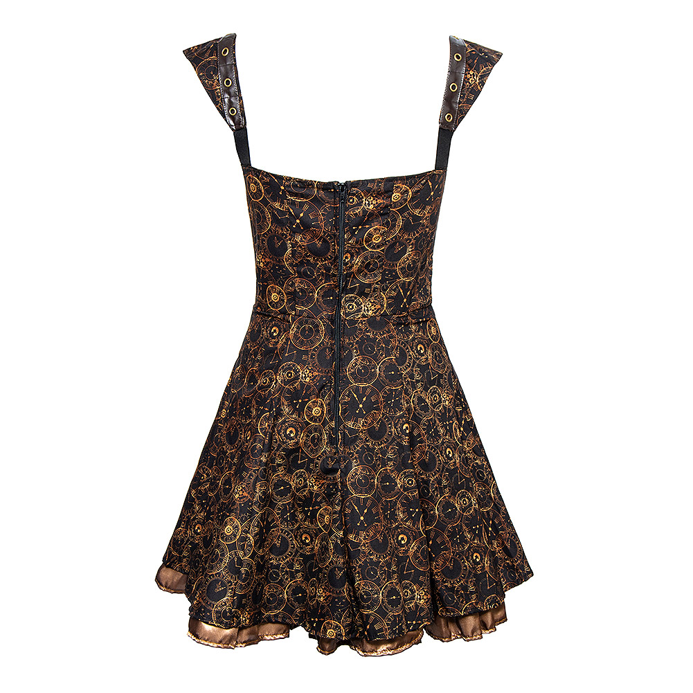 Golden Steampunk Timeclocks Strap & Chain Dress (Black)