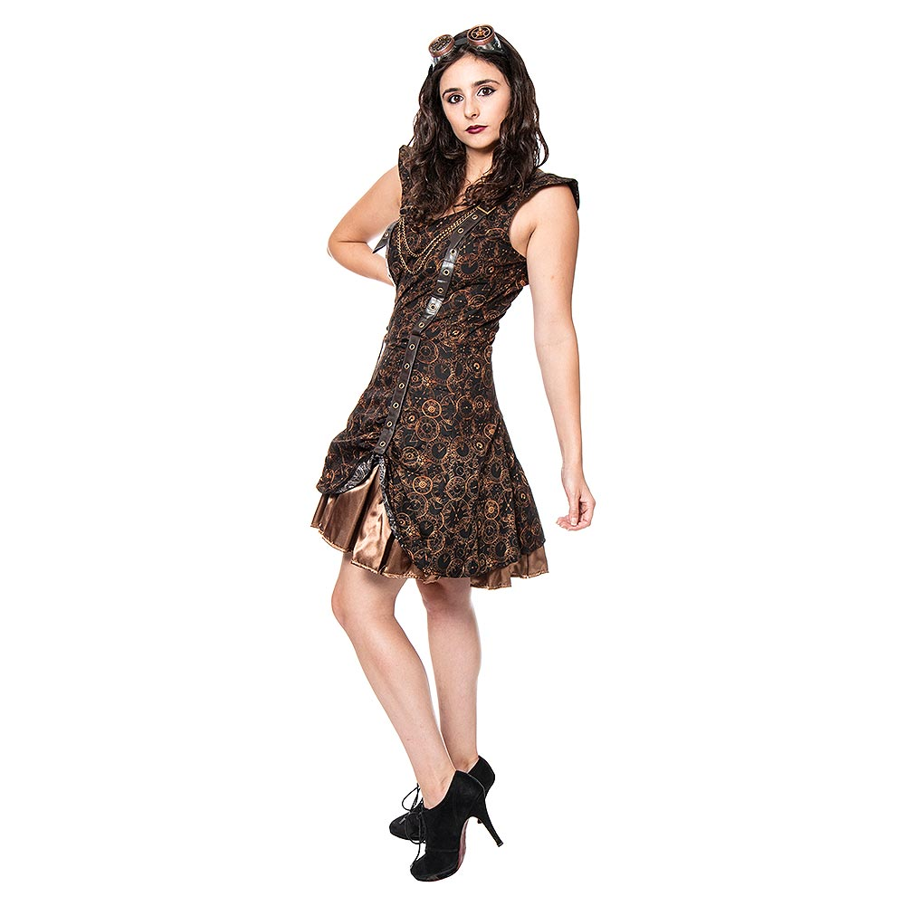 Golden Steampunk Timeclocks Strap & Chain Dress (Brown)
