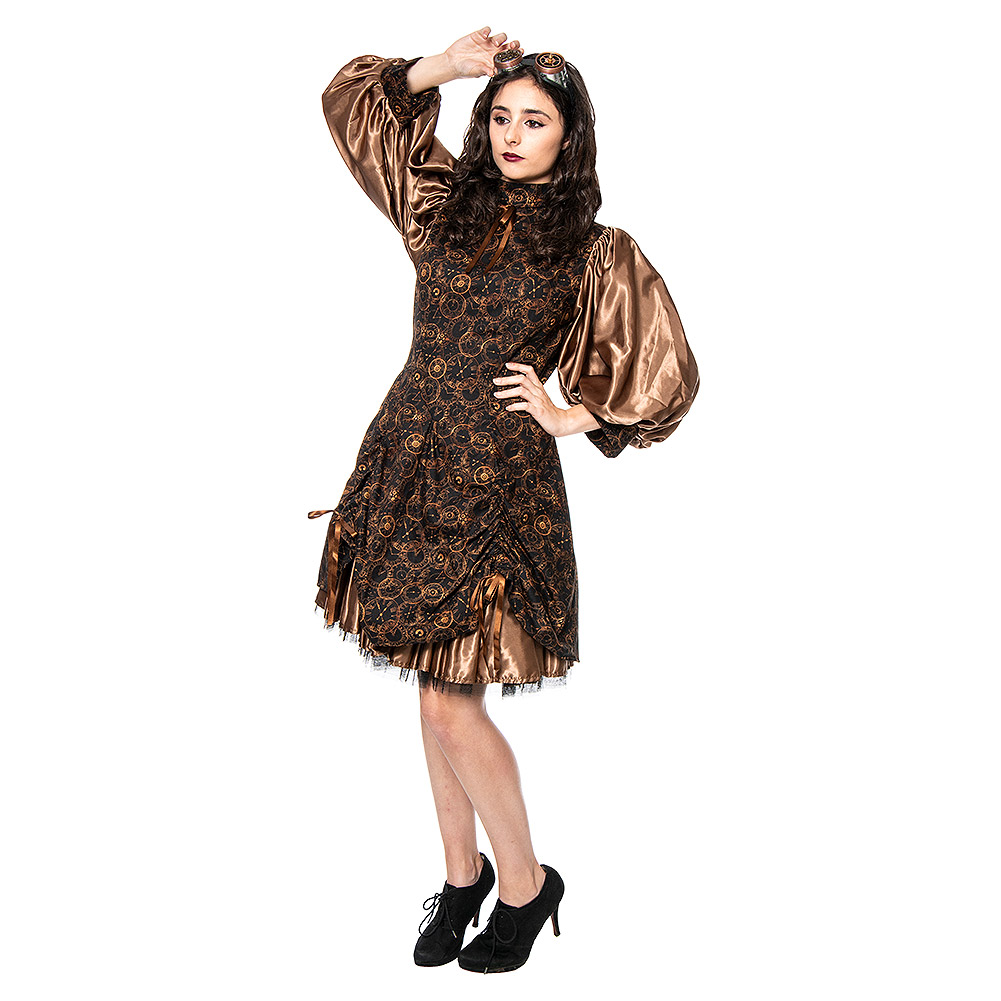Golden Steampunk Time Clocks Satin Dolly Dress (Brown/Bronze)
