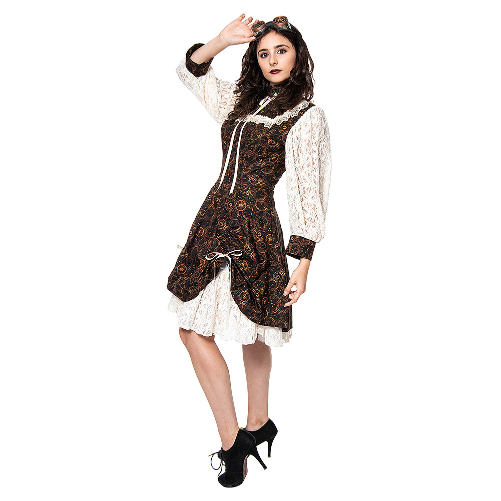Golden Steampunk Time Clocks Lace Sleeve Dolly Dress (Brown)
