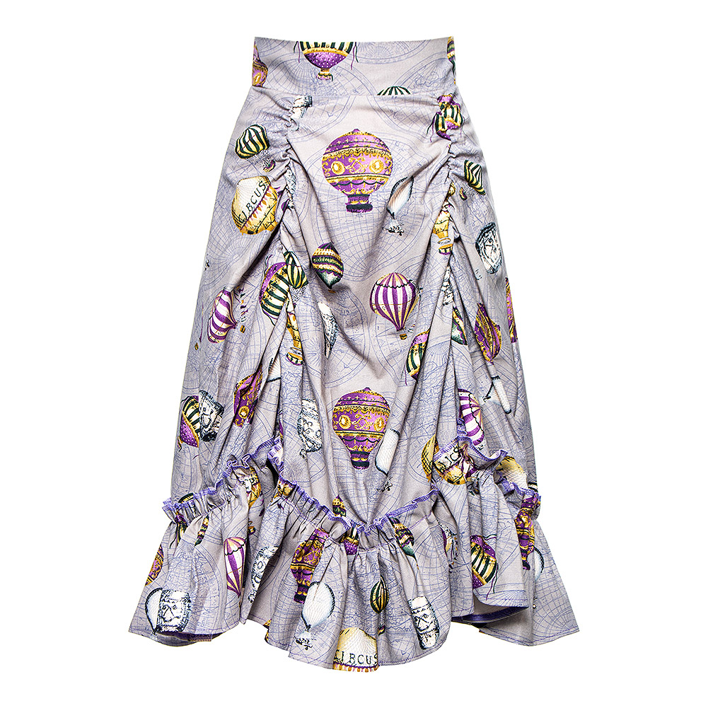 Golden Steampunk Balloon Print Ruched Skirt (Grey)