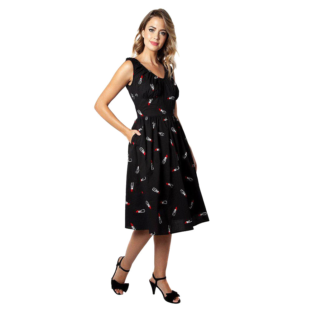 Voodoo Vixen Delia Lipstick Embroidery Flared Dress (Black)